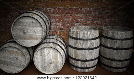 Five grey wooden barrels against of red brick wall