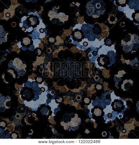 Felt Tip Floral Collage Pattern