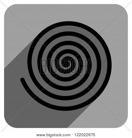 Hypnosis long shadow vector icon. Style is a flat hypnosis iconic symbol on a gray square background.