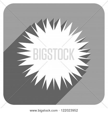Microbe Spore long shadow vector icon. Style is a flat microbe spore iconic symbol on a gray square background.