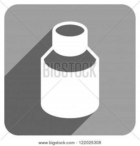 Phial long shadow vector icon. Style is a flat phial iconic symbol on a gray square background.