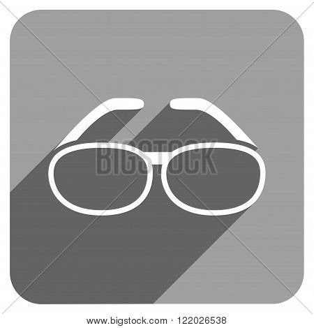 Spectacles long shadow vector icon. Style is a flat spectacles iconic symbol on a gray square background.