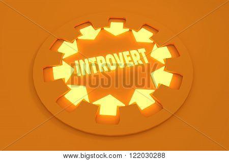 Inrovert simple icon metaphor. image relative to human psychology