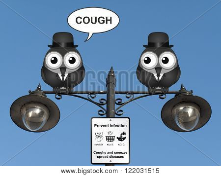 Comical flu and cold prevention sign with birds perched on a lamppost against a clear blue sky