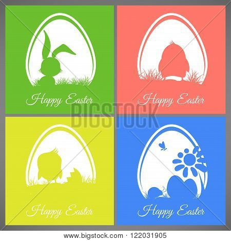 Happy easter pastel colorful vector illustration cards Set meadow with rabbit chicken newborn butterfly eggs flower ladybug silhouettes in egg