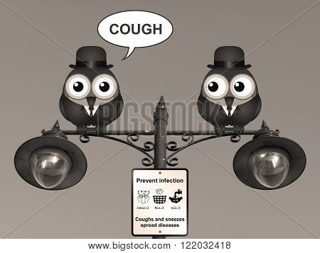 Sepia comical flu and cold prevention sign with birds perched on a lamppost