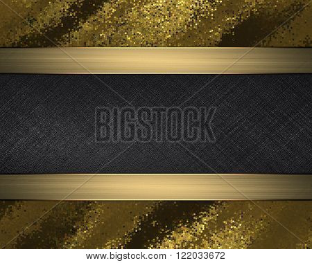 Grunge Gold Plate With Black Nameplate. Element For Design. Template For Design. Copy Space For Ad B