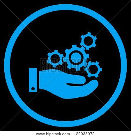 Mechanics Service vector icon. Style is flat rounded iconic symbol, mechanics service icon is drawn with blue color on a black background.