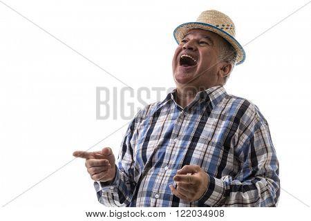 Brazilian old man wearing junina costume