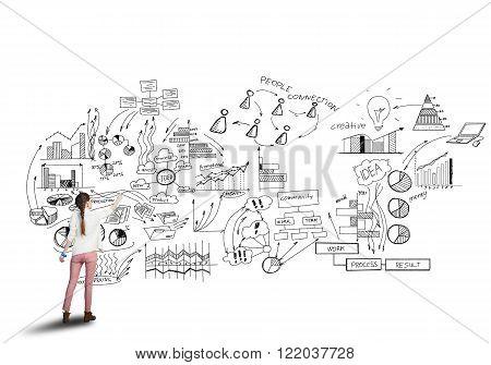 Girl sketching infographs