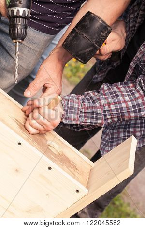 Wooden Birdhouse Is Under Construction, Carpenters