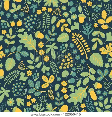vector semaless pattern with beautiful organic elements tender green and yellow on intense blue