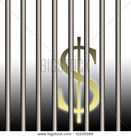 Dollar sign behind bars. Concept: illegal trading, dodgy deals.