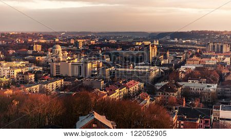 Kaunas, Lithuania: aerial view of central part of city in the sunset of early spring