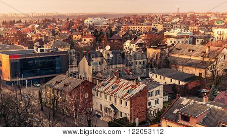 Kaunas, Lithuania: aerial view of central part of city in the sunset of early spring.
