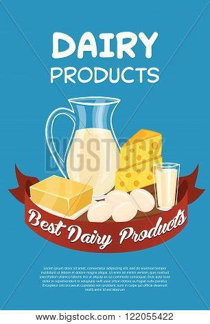 Dairy products poster template, vector illustration. Milk products