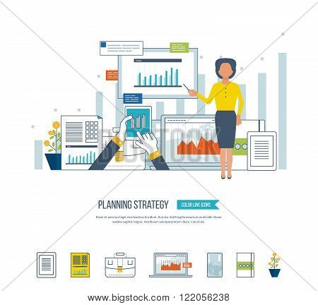 Concept for project and strategic management, strategy planning, financial report, education.  Investment growth. Planning process. Planning meeting. Investment business.