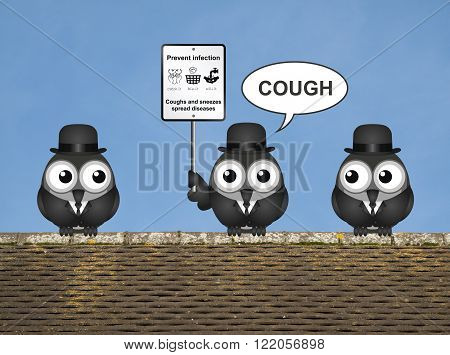 Comical flu and cold prevention sign with birds perched on a rooftop against a clear blue sky