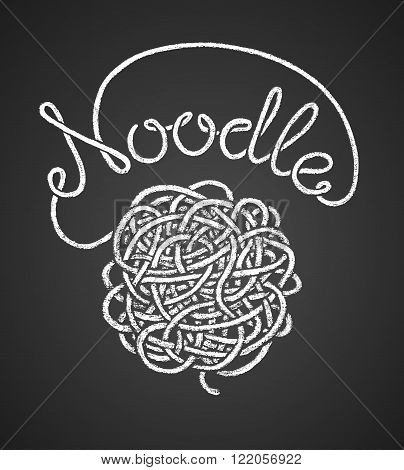 Noodle word written by one continuous line like a spaghetti and spaghetti snarl drawn on chalkboard. Eps8. RGB. Global colors
