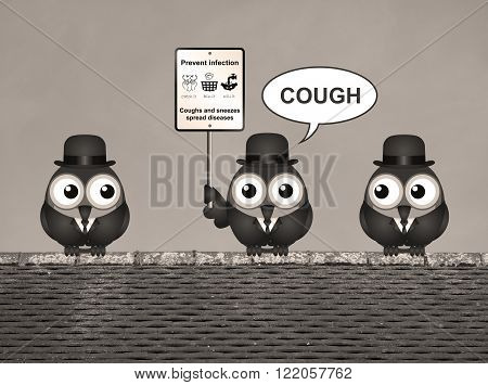 Sepia comical flu and cold prevention sign with birds perched on a rooftop
