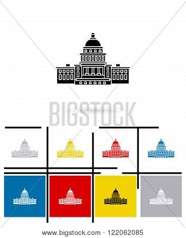 United States Capitol icon or Capitol sign. Vector Capitol pictogram or Capitol symbol