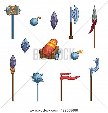 Game weapon icons set. Ax hammer banner crown cannon kernel flag spear halberd club.
