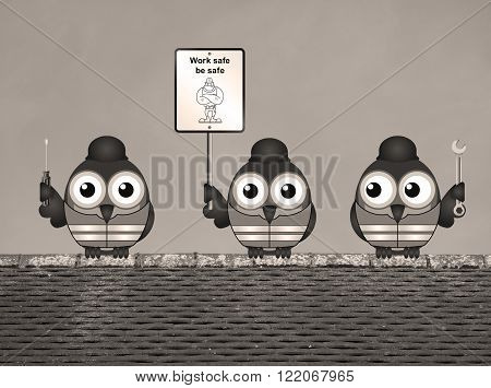 Sepia construction work safe be safe message with construction worker birds perched on a rooftop