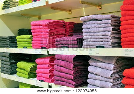 BARCELONA SPAIN - JANUARY 29: Showcase with towels in department store El Corte Inglese Barcelona on January 29 2015. El Corte Inglese is the largest chain of department stores in Spain.