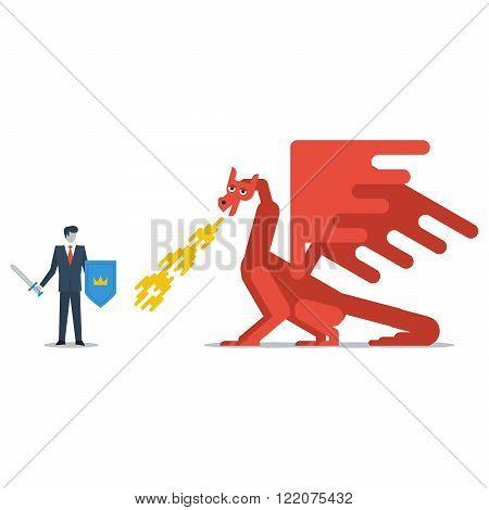 Fighting a dragon concept, flat design illustration