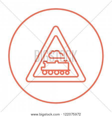 Train sign line icon.