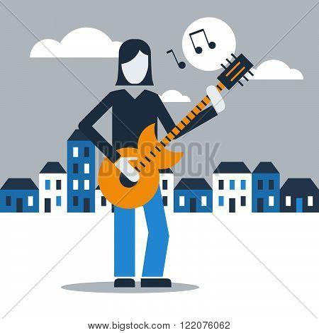 Street guitarist under moonlight, flat design illustration