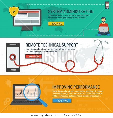 Three vector banners. Concept system administration. Stethoscope on smartphone - remote technical assistance and technical support. Improving performance. Flat style. Web infographics