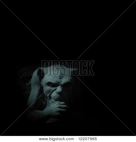Gargoyle figure on black