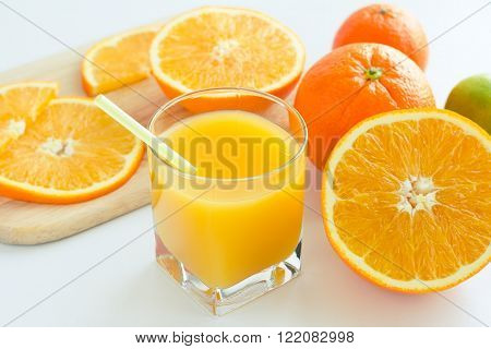 Homemade citrus orange juice from ripe orange for a breakfast. Selective focus