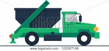Garbage or waste truck, flat design illustration