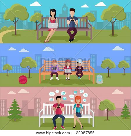 Internet addiction disorder technology. People and child game smartphone in park, web addict, internet dependence, technology mobile addiction, social web addiction vector illustration