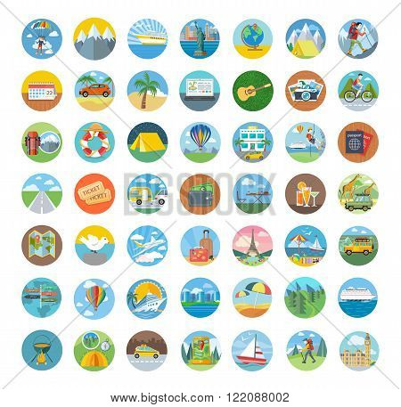 Set of travel icon flat design. Transportation icons, travel logo and map icon, icon tourism, compass and globe, vacation summer, beach and car icon, holiday vector illustration