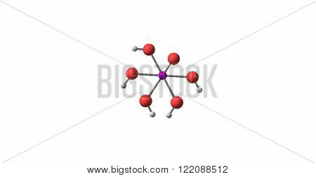 Paraperiodic acid is the highest oxoacid of iodine. 3D illustration