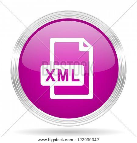 xml file pink modern web design glossy circle icon