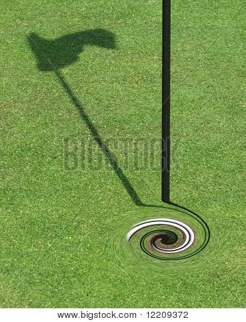 Golf flag in hole with twirling effect poster