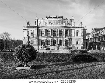 The Rudolfinum - neo-renaissance building and seat of Czech Philharmonic Orchestra, Prague, Czech Republic. Black and white image.
