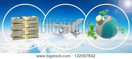 Money, jet and earth globe in circles in sky