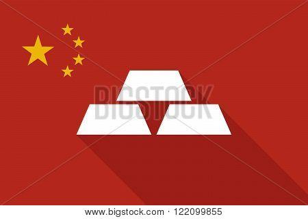 China Long Shadow Flag With Three Gold Bullions