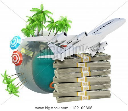 Earth globe with jet and cash isolated on white background, travel concept