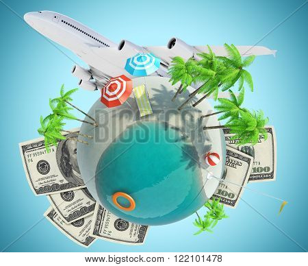 Earth globe with jet and dollars on blue background, travel concept