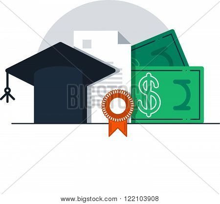 Education concept, grants, course, flat design illustration