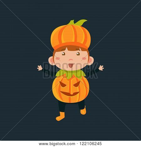 Boy In Jack Pumpkinhead Haloween Disguise Funny Flat Vector Illustration On Dark Background