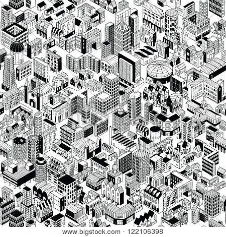 City Seamless Pattern is hand drawing of different building typologies. Illustration is in eps8 vector mode black fill is on separate layer.