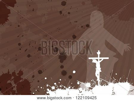Frame with Jesus Christ crucifixion and resurrection with space for your text