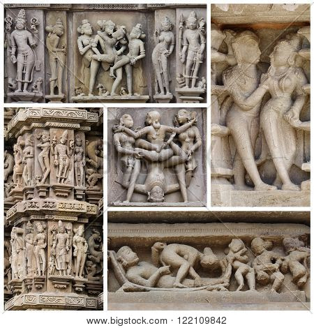 Collage of stone carved erotic bas reliefs in Hindu temple in Khajuraho India. Unesco World Heritage Site